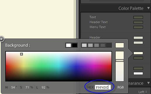 Changing a Lightroom Web Gallery Color