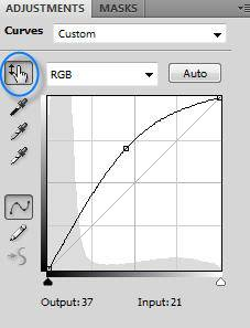 Photoshop Curves Targetted Adjustment Tool