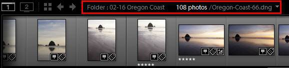 Lightroom filmstrip location indicator