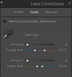 Color Lens Corrections Panel in Lightroom 4.1