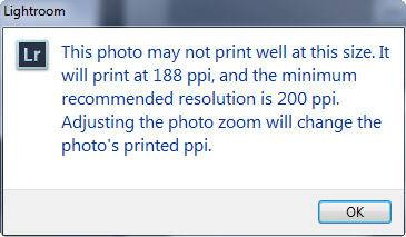 Lightroom Book Exclamation Point Resolution Warning