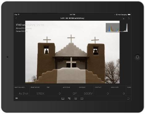 Lightroom mobile for iPad Loupe View