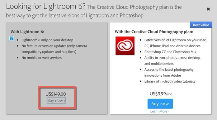Lightroom 6 Upgrade Purchase