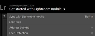 Lightroom Sign in to sync