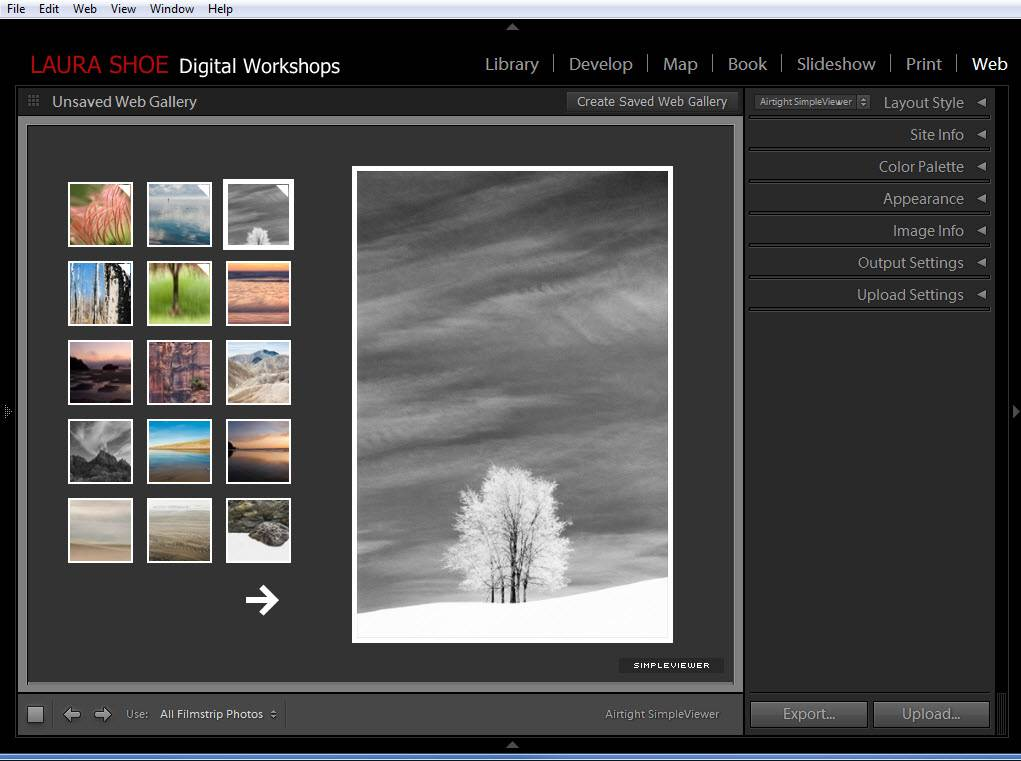 Creating and uploading a web gallery using Lightroom's web module