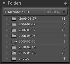 Default Lightroom Folders Panel Behavior