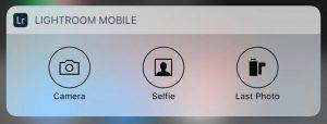 Lightroom mobile notification center widget