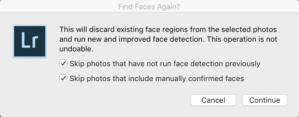 Lightroom Classic - Find Faces Again Dialog