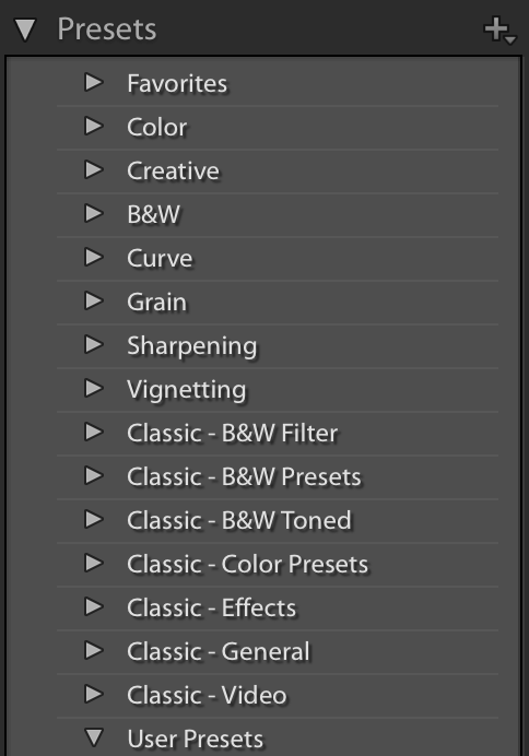 Lightroom Classic Presets Panel - More Presets, Favorites