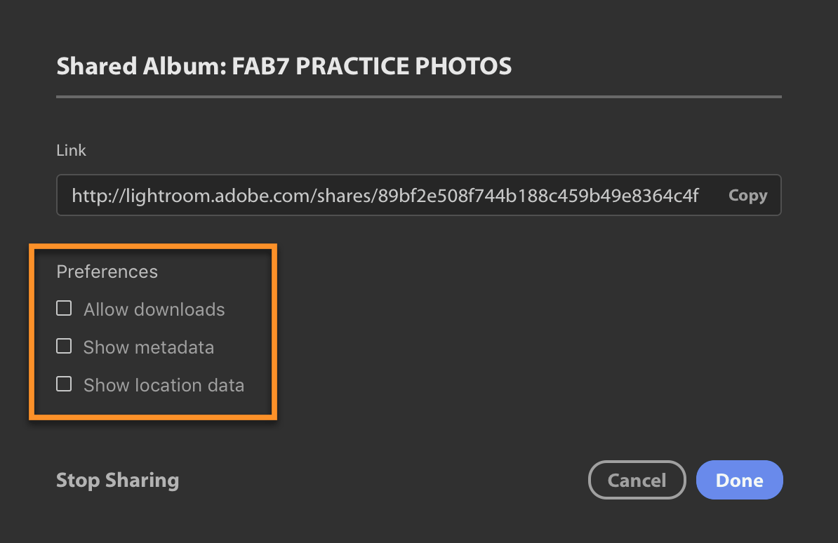 Lightroom CC Album Sharing Options