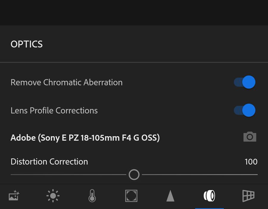 Lightroom CC Android - Optics