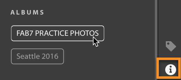 Lightroom CC: see what album(s) a selected image is in