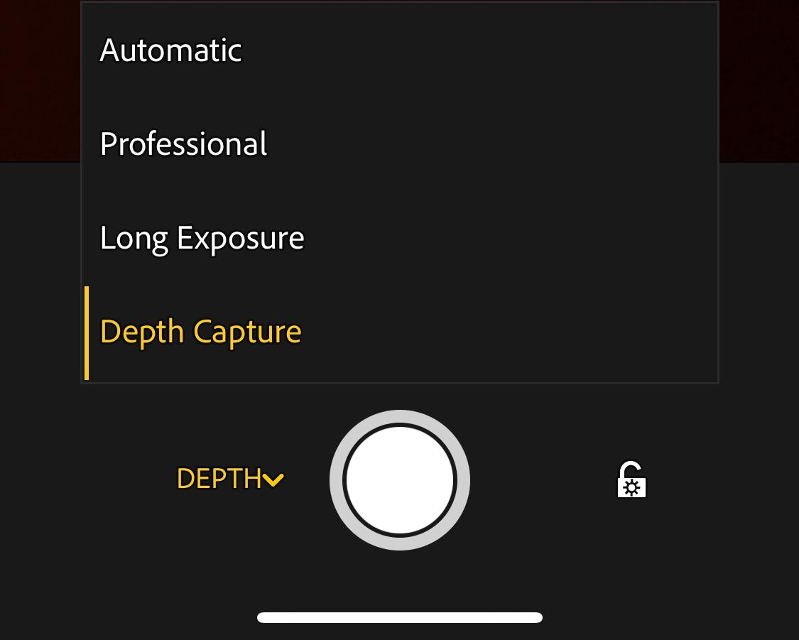 Lightroom CC mobile camera - Depth Capture option