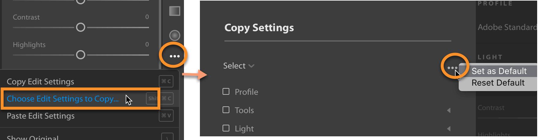 Set a default for Copy Edit Settings