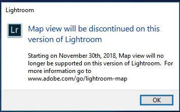 Lightroom Classic Map Module Message