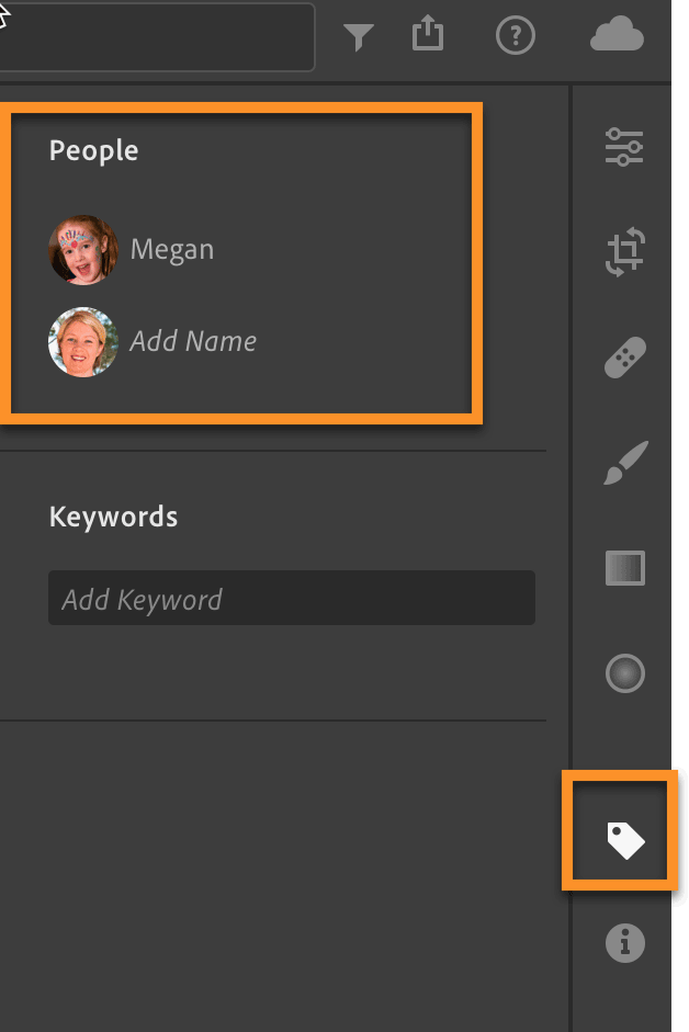 Lightroom CC People Shown in the Keyword Tab