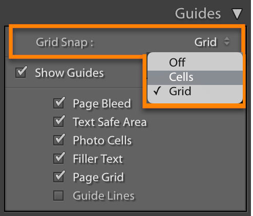 Lightroom Classic Book Module: Align cells with Grid Snap