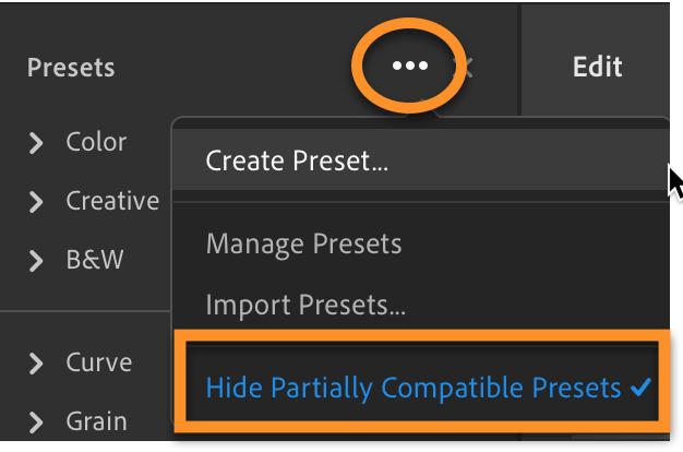 Lightroom CC: Hide Partially Compatible Presets