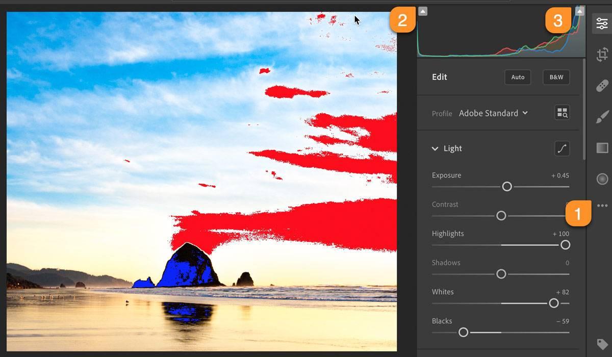 Lightroom CC Desktop Highlights and Shadows Clipping Indicators