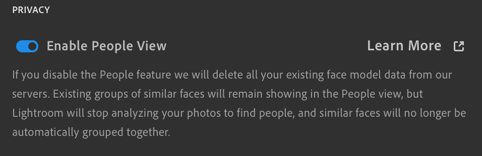 Disable People View in LIghtroom CC