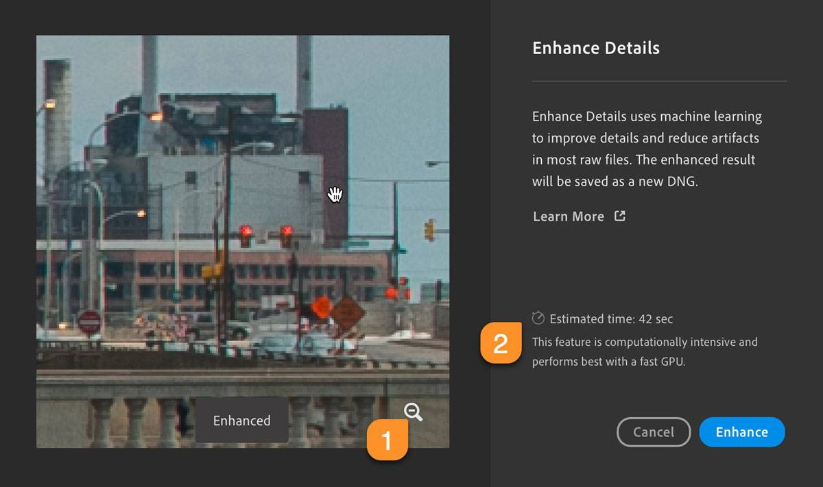 Lightroom Enhanced Details Preview