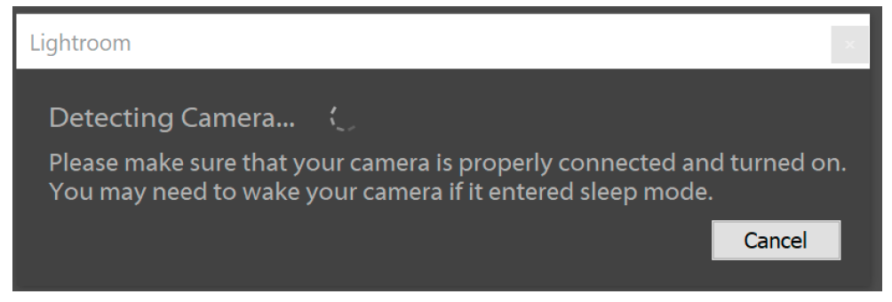 Lightroom Classic CC Tethered Camera Detection