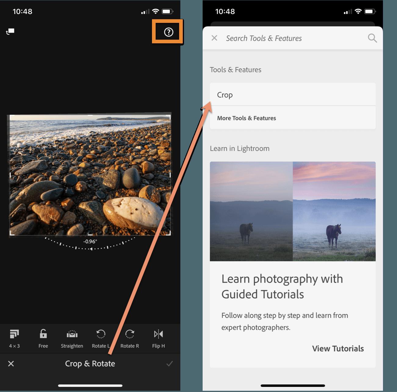 Lightroom Mobile Editing Contextual Help