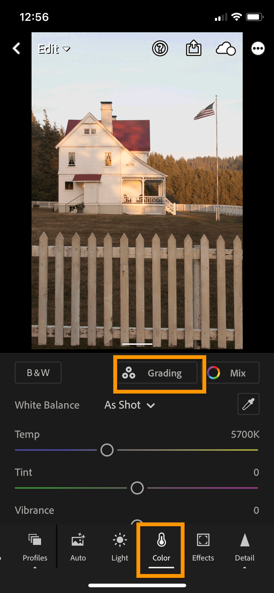 Lightroom Mobile Color Grading Panel